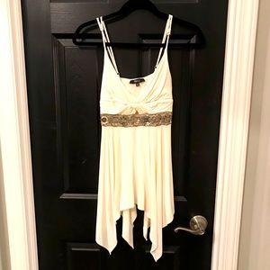 Super unique embellished sky mini dress/tunic!